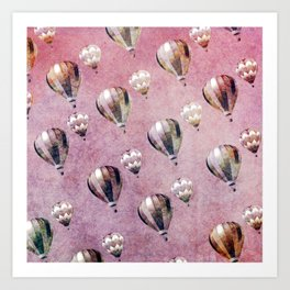 Vintage Hot Air Balloons Pink purple Retro Floral Damask Art Print