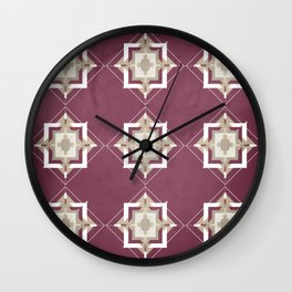 Mulberry and Taupe Mosaic Pattern Wall Clock