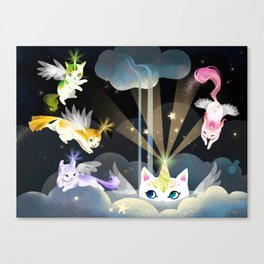 Enchanted Caticorn Cloud Canvas Print