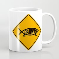 darwin Mugs featuring Darwin Fish Road Sign by Max Headroom