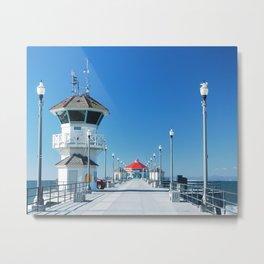 A Winter's Day Huntington Beach Pier Metal Print