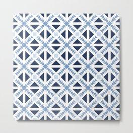 Geo Stamp Blue Metal Print