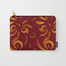 Pattern of red doodles and curls in floral ornament in ethnic style on claret background. Carry-All Pouch