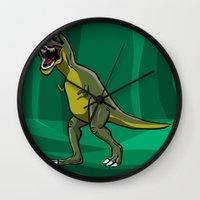 t rex Wall Clocks featuring T-Rex by Janusz Kali Kaliszczak
