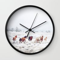 large Wall Clocks featuring Winter Horses by Kevin Russ