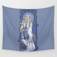 mucha Wall Tapestries featuring Galadriel Nouveau by Karen Hallion Illustrations