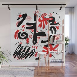 Thunder Duck Doodle White Wall Mural