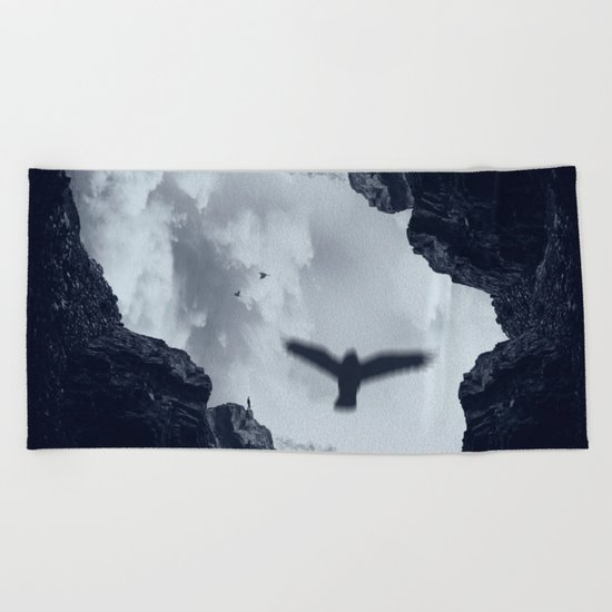 spaces xvii - cave mouth with bird Beach Towel