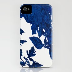 Royal Blue Leaves Slim Case iPhone (4, 4s)