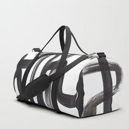 Black And White Minimalist Mid Century Abstract Ink Art Ink Maze Brush Strokes Minimal Duffle Bag