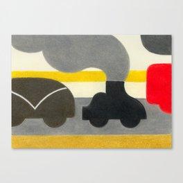Smoking Piano Car Canvas Print