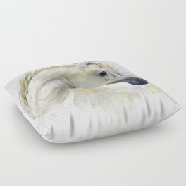 White Horse Watercolor Painting Animal Horses Floor Pillow
