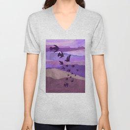 Purple Mountains Birds Take Flight Unisex V-Neck