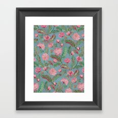 Soft Smudgy Pink and Green Floral Pattern Framed Art Print