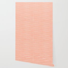 Sweet Life Thin Stripes Peach Coral Pink Wallpaper