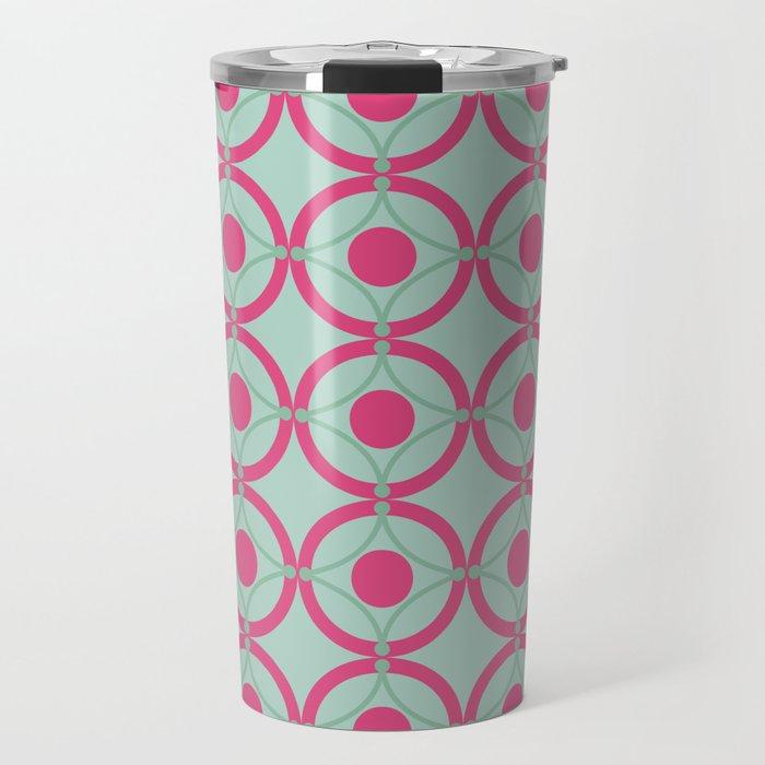 Lattice Circles Modern Geometric Pattern Hot Pink Mint Green Travel Mug