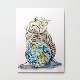 In which our feline deity shows restraint  Metal Print