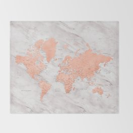 """Rose gold and marble world map with cities, """"Janine"""" Throw Blanket"""