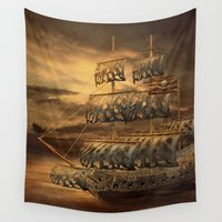 pirate ship Wall Tapestries featuring Pirate Ship by FantasyArtDesigns