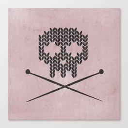 Knitted Skull / Knitting with Attitude (Black on antique rose colour) Canvas Print