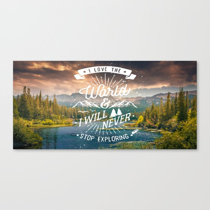 Inspirational Quote and Mountains III Canvas Print