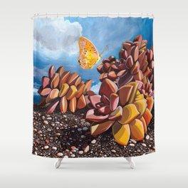 Butterfly + Graptosedum Shower Curtain