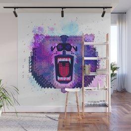 Lilac Geometric Bear Wall Mural