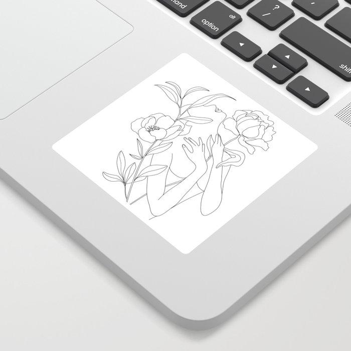 Minimal Line Art Woman with Peonies Sticker
