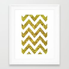 GOLD GLITTER CHEVRON Framed Art Print
