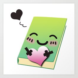 Book Emoji Love Art Print