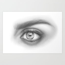 Eye Art | Sexy Girl | Beauty | Model | Woman Face | Graphite Drawing| Pencil Black and White Art Art Print
