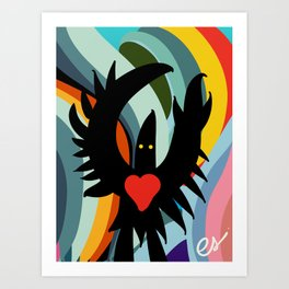 Black Spirit of Love and Rainbow Graffiti Street Art Art Print