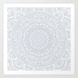 Light Gray Ethnic Eclectic Detailed Mandala Minimal Minimalistic Art Print