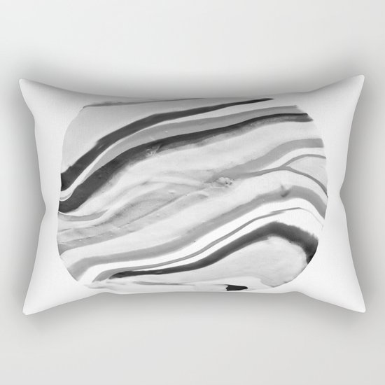 Shadow of Ourselves Marbling Marble Circle World Black and White Rectangular Pillow