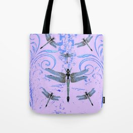 DELICATE BLUE & LILAC DRAGONFLIES ABSTRACT ART Tote Bag