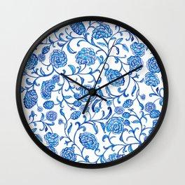 Blue Flowers on White by Fanitsa Petrou Wall Clock