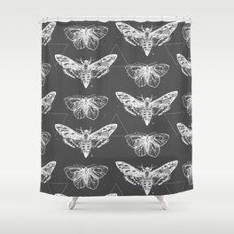 Geometric Moths inverted Shower Curtain