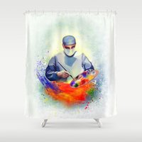 medicine Shower Curtains featuring The Art of Medicine by Cleev
