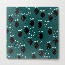 Botanical fruit garden teal winter lemons pop pattern Metal Print