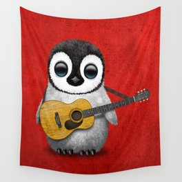 Musical Baby Penguin Playing Acoustic Guitar on Deep Red Wall Tapestry