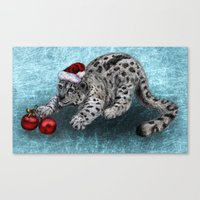 snow leopard Canvas Prints featuring Snow Leopard by Anna Shell
