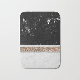 Black and White Marble Gold Glitter Stripe Glam #1 #minimal #decor #art #society6 Bath Mat