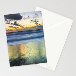 Sea storm approaching the beach making reflections in the sand Stationery Cards