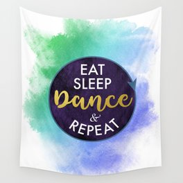 Eat Sleep Dance and Repeat faux gold foil glitter letters typography design for Dancer Wall Tapestry