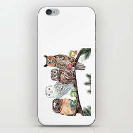 Tea owls , funny owl tea time painting by Holly Simental iPhone Skin