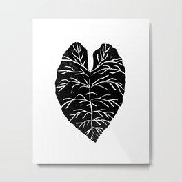Leaf tropical linocut blockprinted stamp leaves black and white minimal modern pattern art print Metal Print