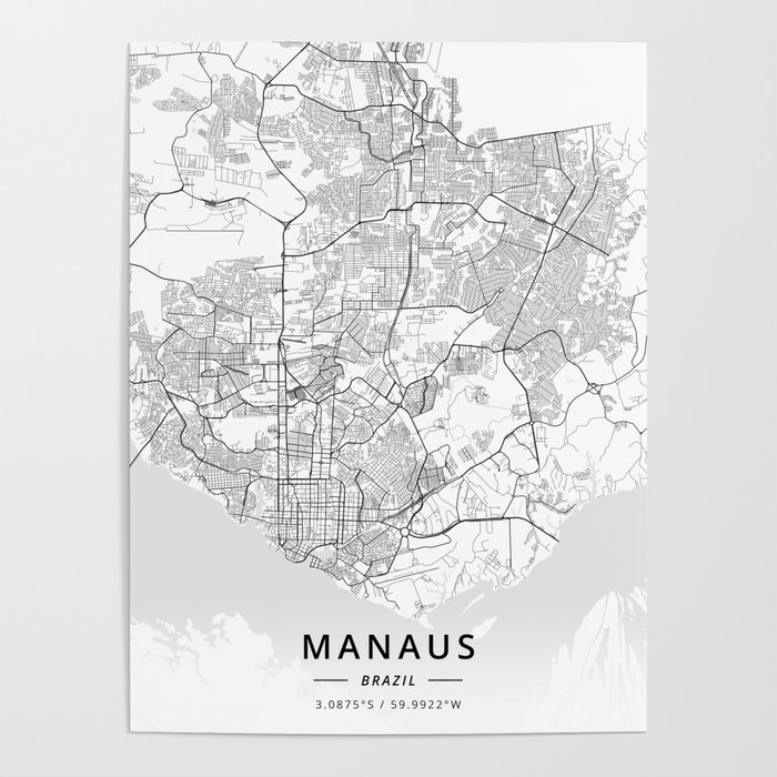 Manaus, Brazil - Light Map Poster