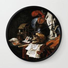Vintage Vanitas- Still Life with Skull 3 Wall Clock
