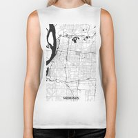 memphis Biker Tanks featuring Memphis Map Gray by City Art Posters