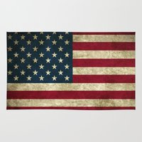american flag Area & Throw Rugs featuring American Flag by Nechifor Ionut